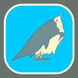 Illustration hand drawn vector retro cartoon bird Stock Photo