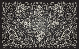 Illustration of hand drawn vintage floral retro Royalty Free Stock Image