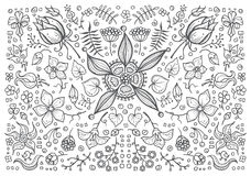 Illustration of hand drawn vintage floral retro Royalty Free Stock Photos