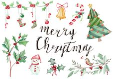 Free Illustration Hand Drawn With New Year`s Christmas Symbolics Royalty Free Stock Image - 127679056