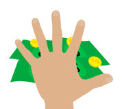 Illustration of a hand grabbing money Stock Image
