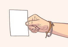 Illustration of hand holding blank piece of paper in vintage colors. Stylized drawing of hand holding blank sign Royalty Free Stock Photography
