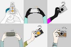 Illustration of a hand holding camera. And taking snaps Stock Photo