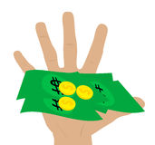 Illustration of a hand holding money Royalty Free Stock Photography