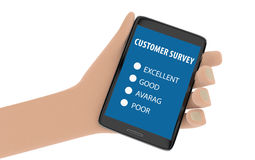 Illustration of hand holding smartphone with customer survey on Royalty Free Stock Photos