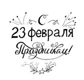 Illustration of hand-lettering that says congratulations from 23 February holiday. Illustration suitable for cards, prints, t-shirt. Quote in Russian Royalty Free Stock Image