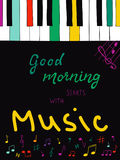 Illustration with hand lettering text Good morning starts with music. Hand drawn colorful piano keys Royalty Free Stock Photo