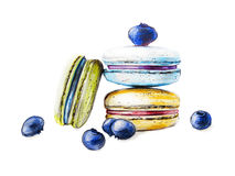 Illustration of hand painted colorful macarons Royalty Free Stock Image