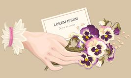 Illustration of hand with pansies Stock Photography