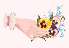 Illustration of hand with pansies Royalty Free Stock Photos