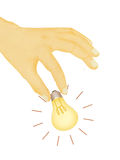 Illustration of hand picking light bulb Stock Photo