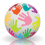 Hand print on the ball Royalty Free Stock Image