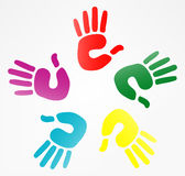 Illustration of hand prints. Illustration of  hand prints in various colors Stock Photography