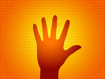 Illustration of hand silhouette. In digital background Royalty Free Stock Photography