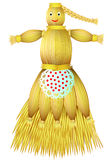 Illustration of handmade doll fabricated from straw on white background. Royalty Free Stock Photography