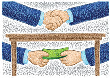 Illustration of hands bribing Stock Image