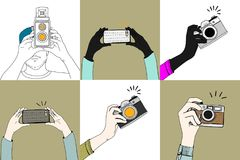 Illustration of hands clicking pictures from different gadgets isolated Stock Photography