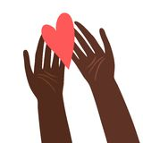 Illustration of hands with heart Stock Photo