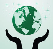 Illustration of the hands holding globe Royalty Free Stock Photos