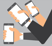 A  illustration of hands on mobile Stock Photo