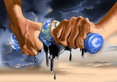 Hands wringing oil from globe royalty free stock image