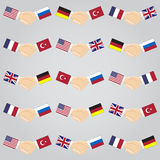 Illustration of handshake between countries. Royalty Free Stock Images