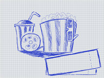 Illustration of handwritten tape glass and popcorn Stock Photo
