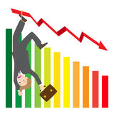 Illustration of hanging businessman on arrow wave statistics on chart  Royalty Free Stock Photos