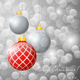 Illustration hanging Christmas multicolor balls on. Glitter background. Merry Christmas Royalty Free Stock Photos