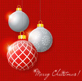 Illustration hanging Christmas multicolor balls on. Knitted background. Merry Christmas Royalty Free Stock Photo