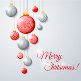 Illustration hanging Christmas multicolor balls Stock Photos