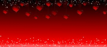 Illustration of hanging red hearts for a Valentine's Day on a red background Stock Photo