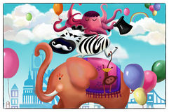 Illustration: Happy Animal Friends Card. The Elephant, The Zebra, The Octopus. Royalty Free Stock Images