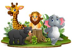 Happy animals cartoon in the park with green plants royalty free illustration