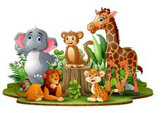 Happy animals cartoon in the park with green plants vector illustration