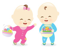 Babies holding Easter baskets Stock Images