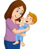 Happy baby boy with his mother. Illustration of Happy baby boy with his mother vector illustration