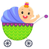 Illustration of Happy Baby In Carriage Royalty Free Stock Photos