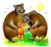 Illustration of happy bears family. Royalty Free Stock Image