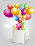 Illustration for happy birthday with balloons from Royalty Free Stock Image