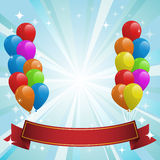 Illustration for happy birthday card with balloons
