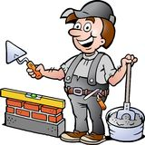 Illustration of an Happy Bricklayer Handyman Royalty Free Stock Photo