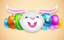 Happy Bunny with Easter Egg Stock Photos
