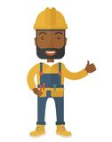 Illustration of a happy carpenter wearing hard hat Royalty Free Stock Photography