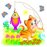 Illustration of happy cat which has caught the fish. Vector cartoon image. Scale to any size without loss of resolution Stock Photo