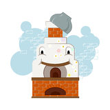 Illustration with happy and cheerful russian oven with a pot on the chimney Stock Photo