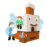 Illustration with happy and cheerful russian oven with two masters with drawings and tools. Stock Photos
