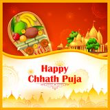Happy Chhath Puja Holiday background for Sun festival of India. Illustration of Happy Chhath Puja Holiday background for Sun festival of India Royalty Free Stock Photo
