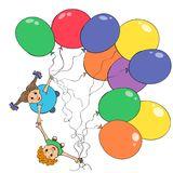 Children with flying colorful ballons. stock illustration