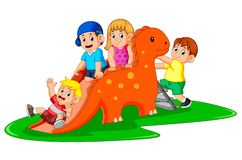 The happy children playing the dinosaur slide and some of them climb the ladder royalty free illustration